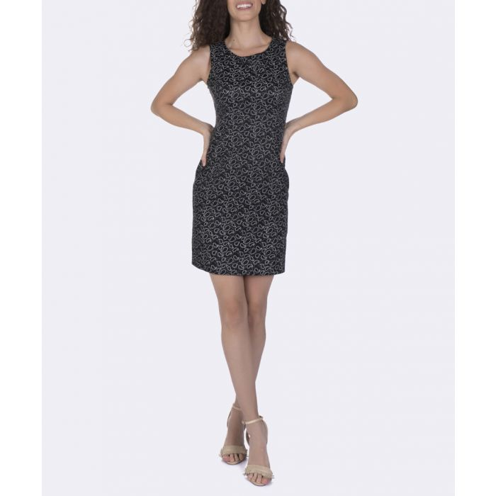 Image for Black pure cotton print mini dress