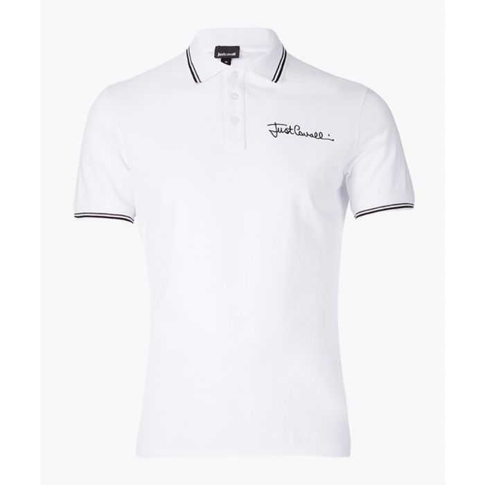 Image for White embroidered logo polo shirt