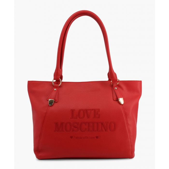 Image for Red faux-leather shopper
