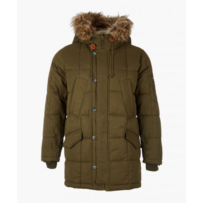 Image for Dark green quilted hooded jacket