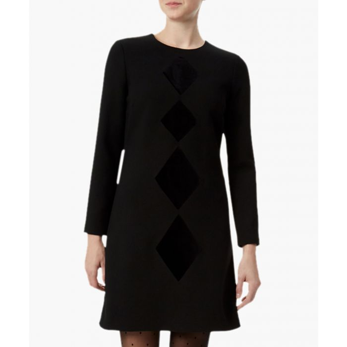 Image for Diamond black wool-crepe a-line dress