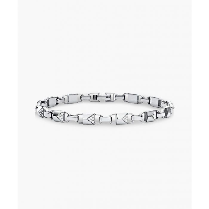 Image for Silver-plated stainless steel and cubic zirconia bracelet