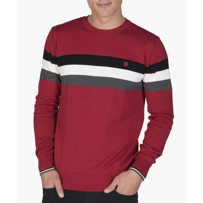 Image for Red cotton colour block jumper