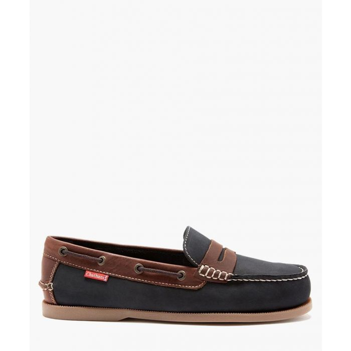 Image for Cuba navy and brown leather deck shoes
