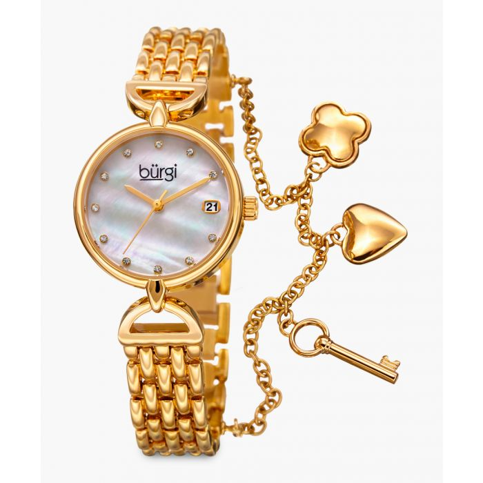 Image for Gold-tone, mother-of-pearl and diamond charm watch