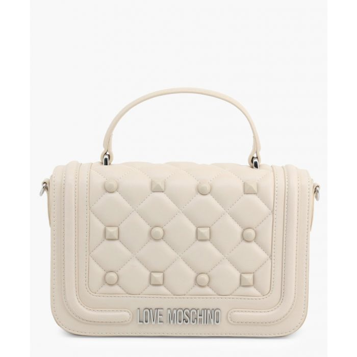 Image for Cream faux-leather grab bag