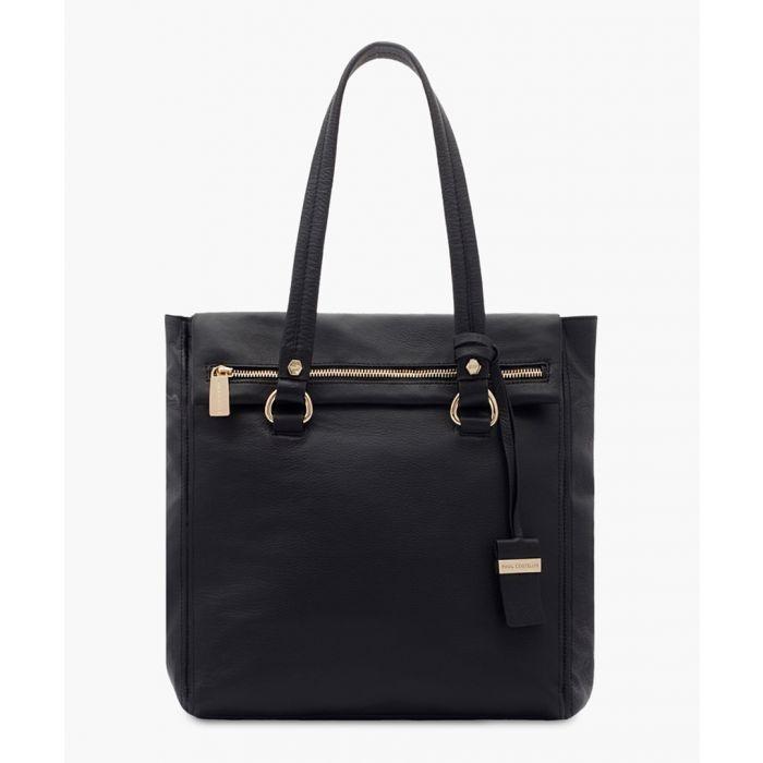 Image for Risvolto black leather shopper