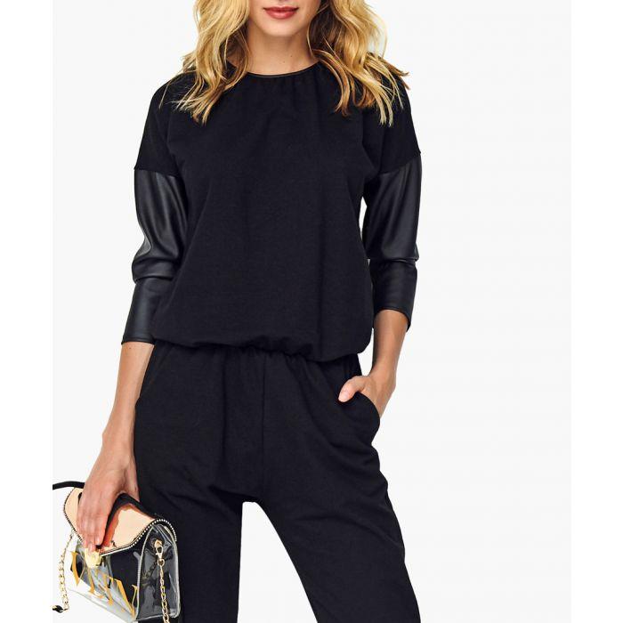 Image for Black cotton blend jumpsuit
