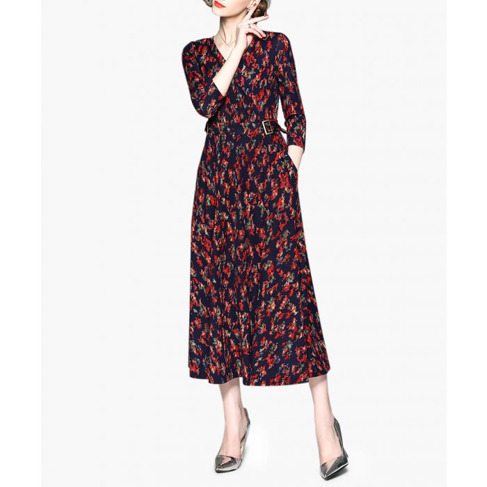 Image for Red long sleeve floral maxi dress