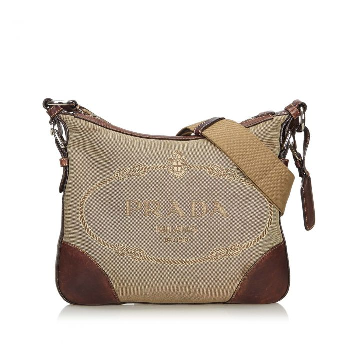 Image for Vintage Prada Canapa Canvas Crossbody Bag Brown