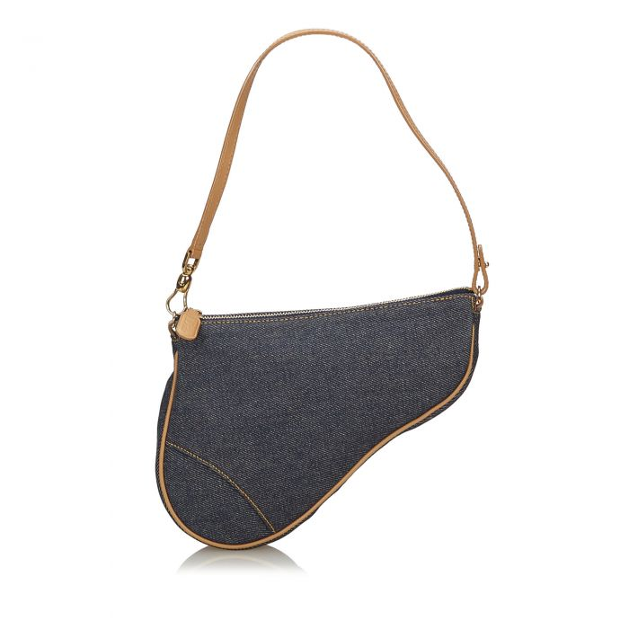 Image for Vintage Dior Denim Mini Saddle Baguette Blue