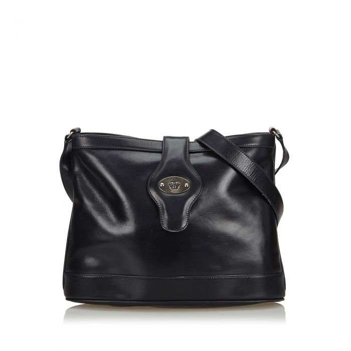 Image for Vintage Gucci Leather Crossbody Bag Black