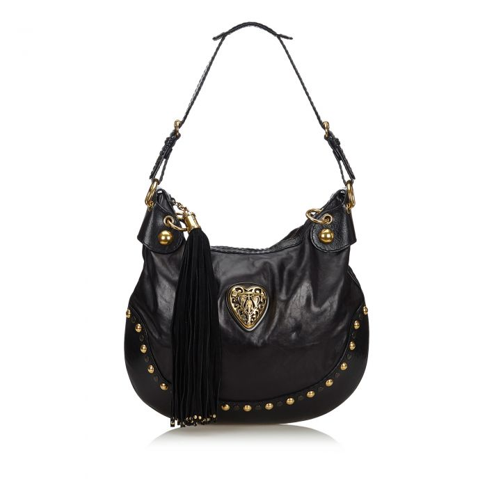Image for Vintage Gucci Leather Babouska Hobo Bag Black