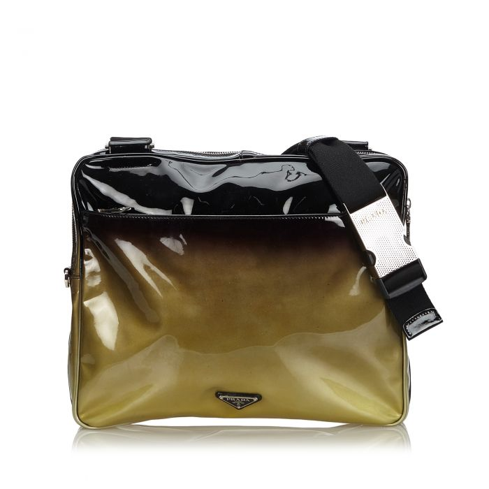 Image for Vintage Prada Patent Leather Ombre Crossbody Bag Black
