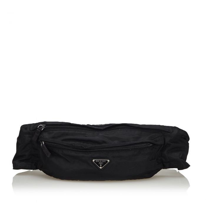 Image for Vintage Prada Printed Nylon Belt Bag Black
