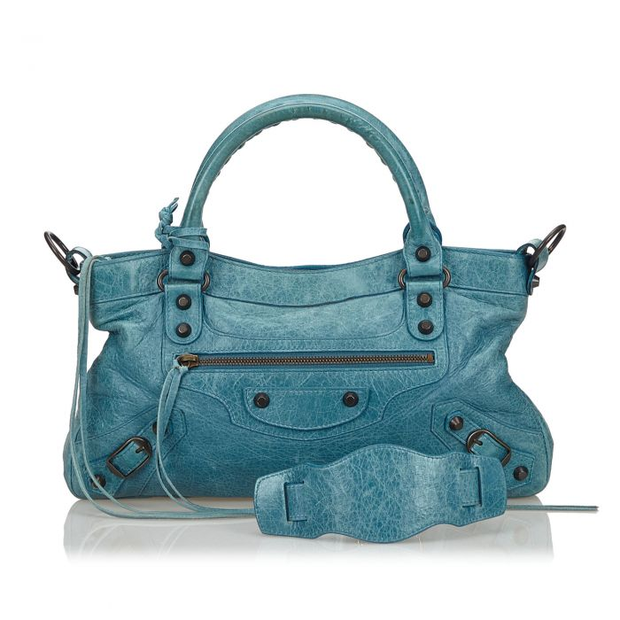 Image for Vintage Balenciaga Leather Motocross Classic First Satchel Blue