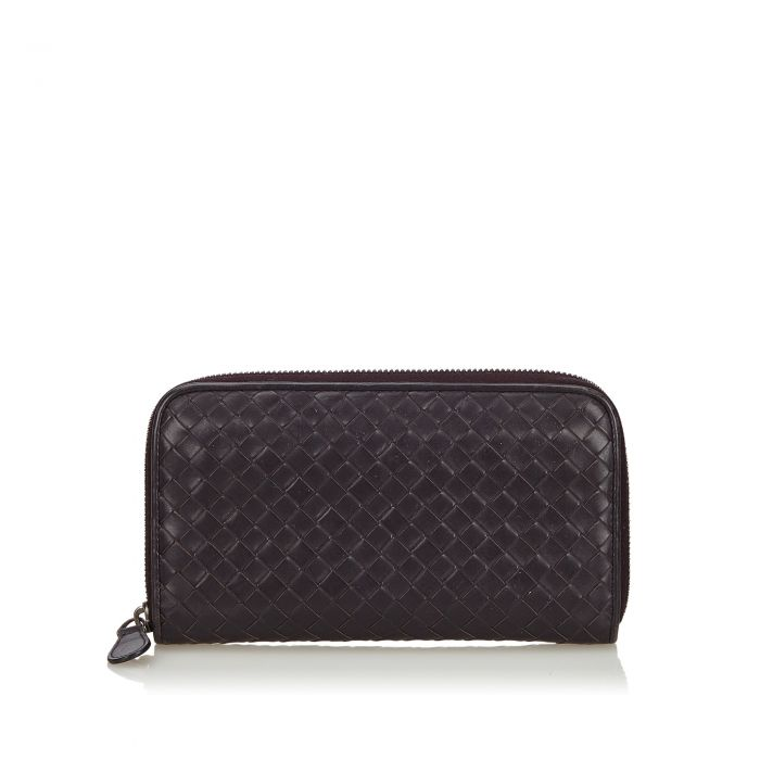 Image for Vintage Bottega Veneta Intrecciato Zip Around Wallet Purple