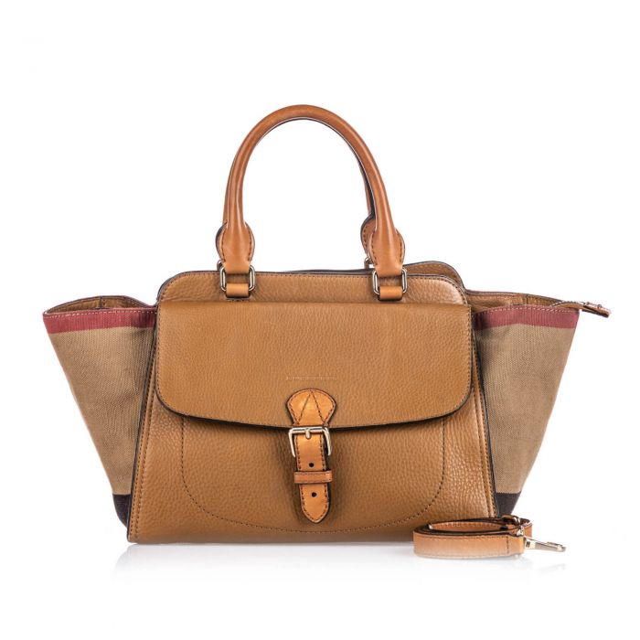 Image for Vintage Burberry House Check Harcourt Satchel Brown