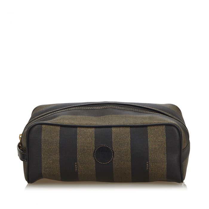 Image for Vintage Fendi Pequin Clutch Bag Brown