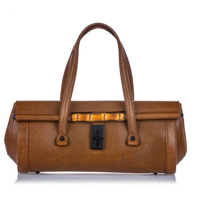 Image for Vintage Gucci Bamboo Leather Bullet Handbag Brown