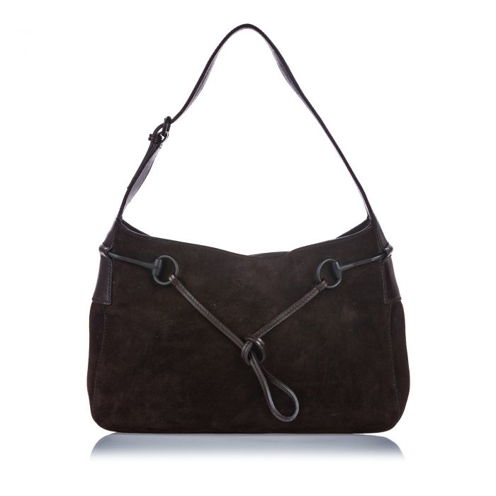 Image for Vintage Gucci Suede Horsebit Shoulder Bag Brown