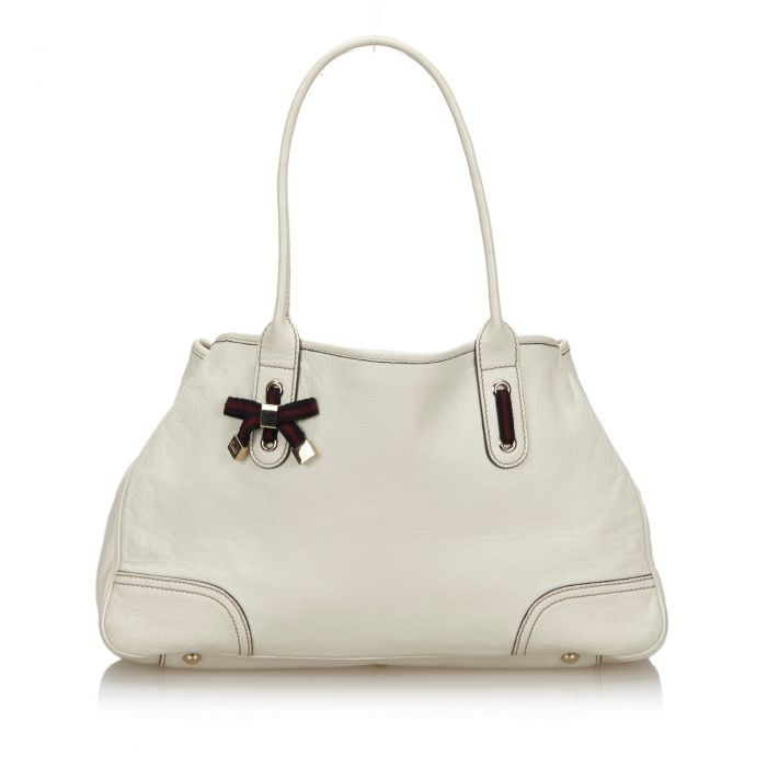 Image for Vintage Gucci Leather Princy Tote Bag White