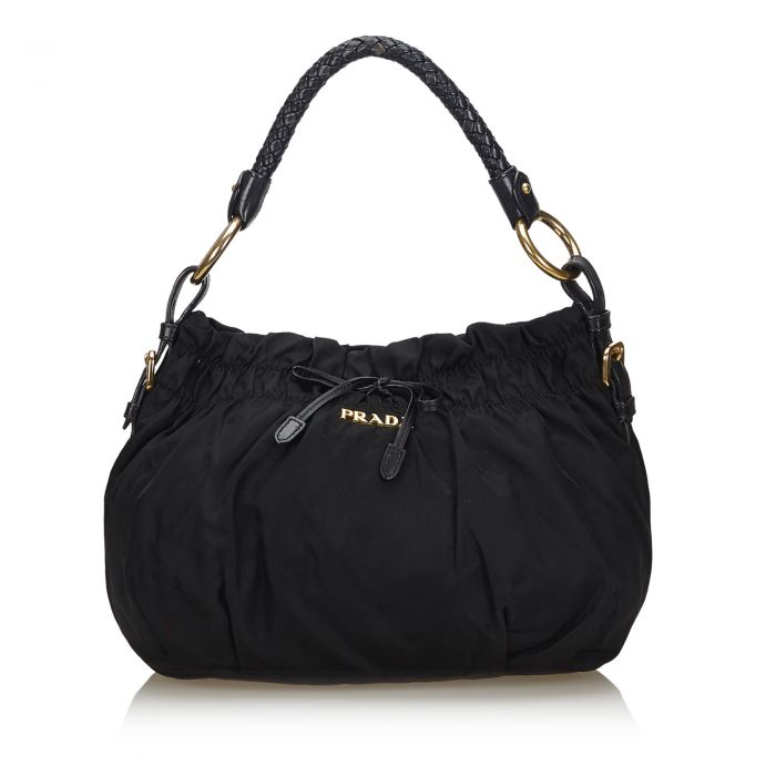 Image for Vintage Prada Gathered Nylon Handbag Black