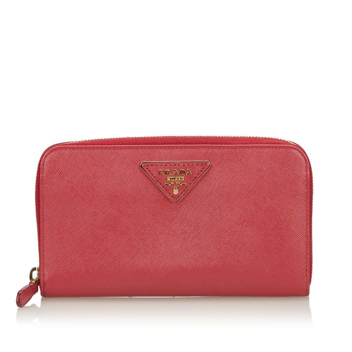 Image for Vintage Prada Saffiano Leather Continental Wallet Pink