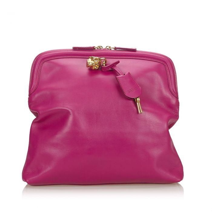 Image for Vintage Alexander McQueen Skull Padlock Fold-over Clutch Bag Pink
