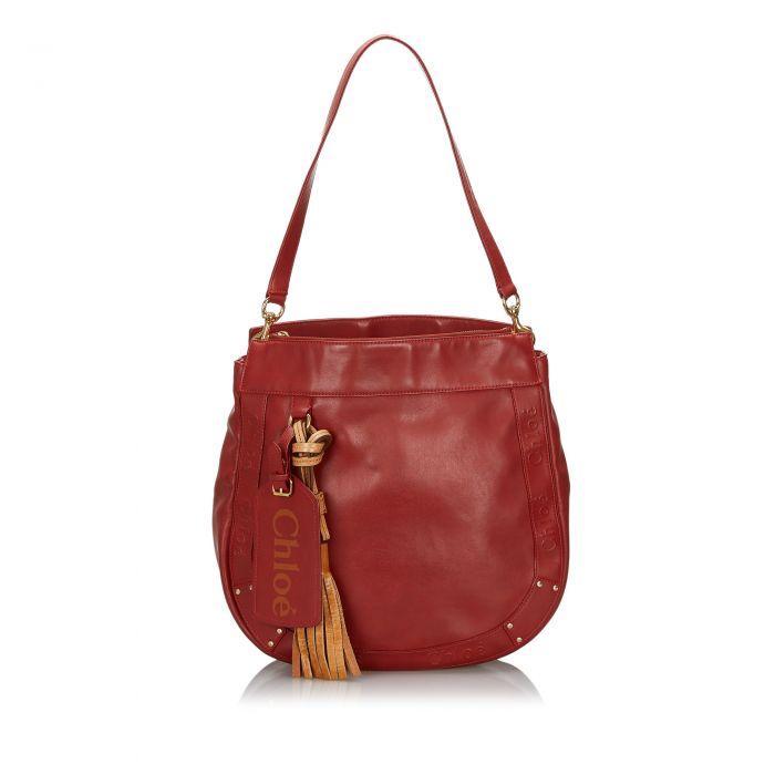 Image for Vintage Chloe Leather Eden Tote Bag Red