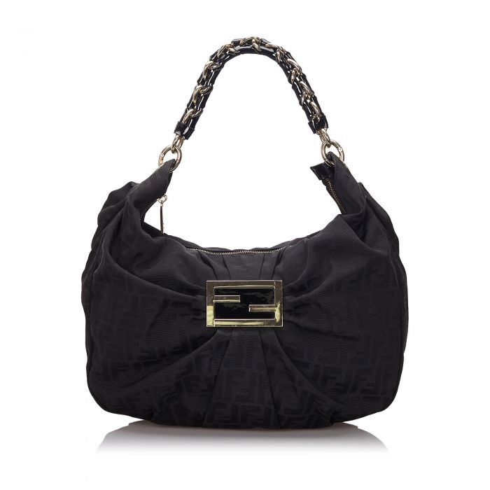 Image for Vintage Fendi Zucca Canvas Mia Shoulder Bag Black