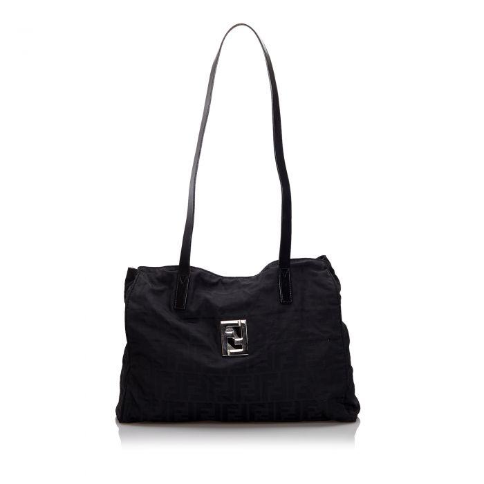 Image for Vintage Fendi Zucca Nylon Tote Bag Black