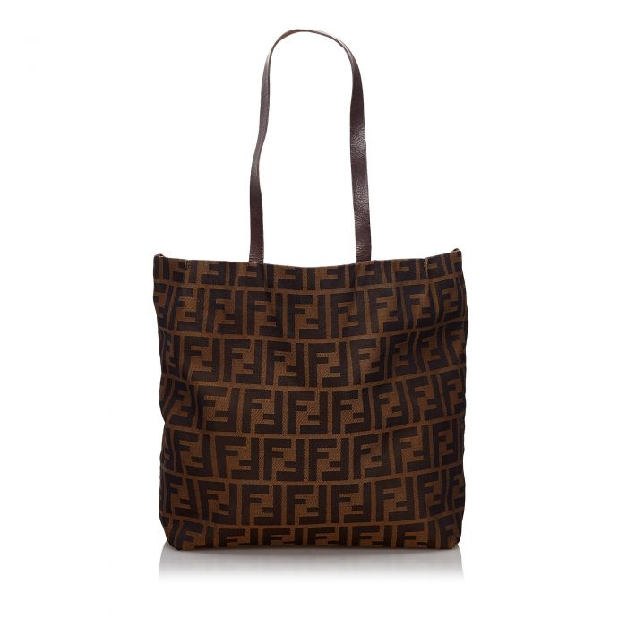 Image for Vintage Fendi Zucca Canvas Tote Bag Brown