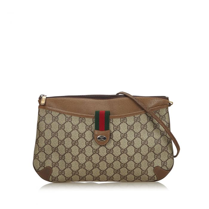 Image for Vintage Gucci GG Supreme Web Crossbody Bag Brown