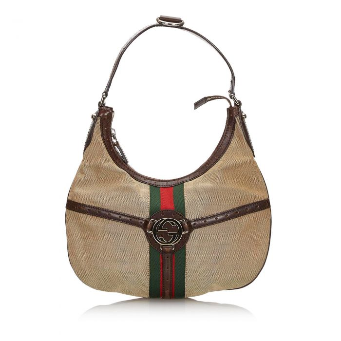 Image for Vintage Gucci Web Canvas Reins Hobo Bag Brown
