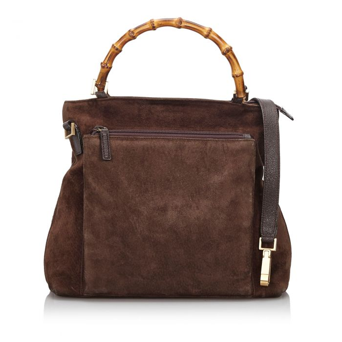 Image for Vintage Gucci Bamboo Suede Satchel Brown