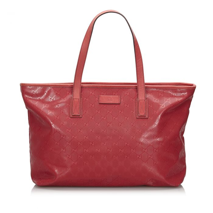 Image for Vintage Gucci GG Imprime Tote Bag Red