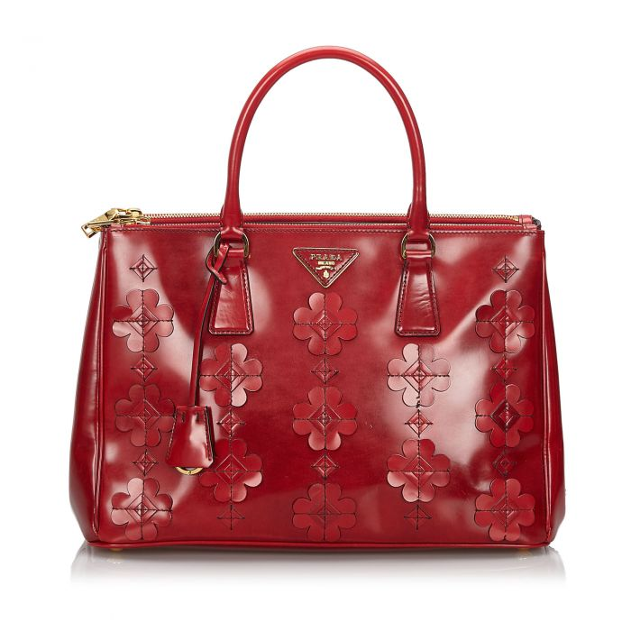 Image for Vintage Prada Spazzolato Flowers Galleria Handbag Red
