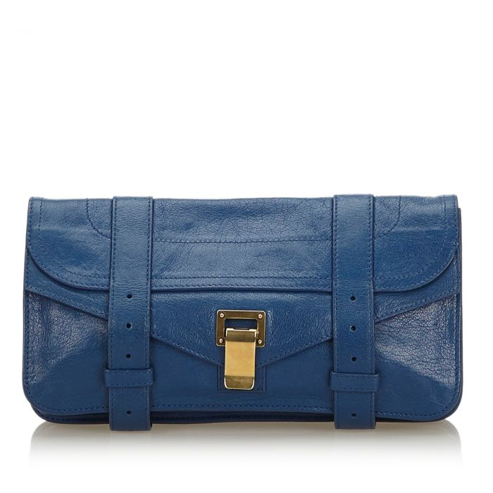 Image for Vintage Proenza Schouler Leather PS1 Pochette Clutch Blue