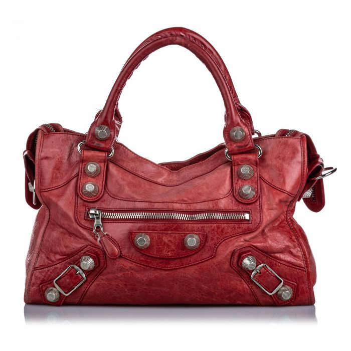 Image for Vintage Balenciaga Leather Motocross Giant City Satchel Red