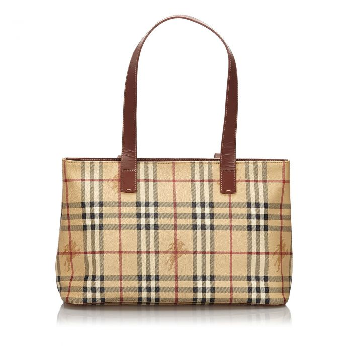 Image for Vintage Burberry Haymarket Check Tote Bag Brown