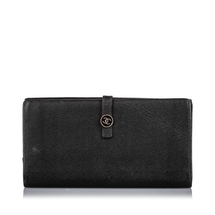 Image for Vintage Chanel Leather Long Wallet Black