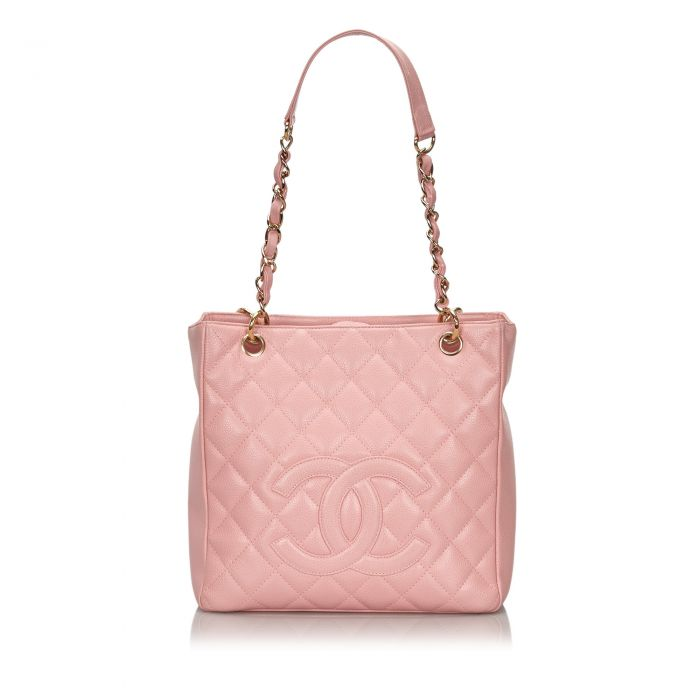 Image for Vintage Chanel Caviar Petite Shopping Tote Pink