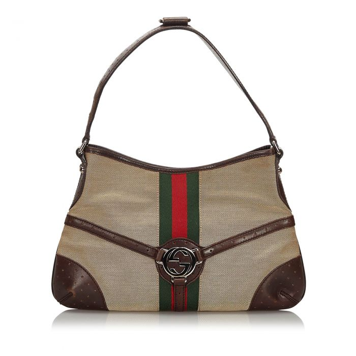 Image for Vintage Gucci Web Canvas Reins Hobo Brown