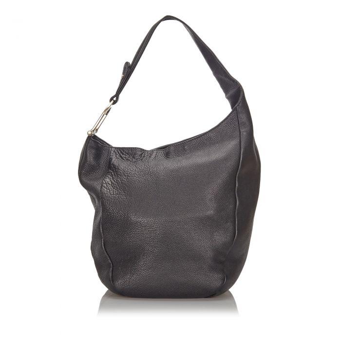 Image for Vintage Gucci Leather Greenwich Shoulder Bag Black