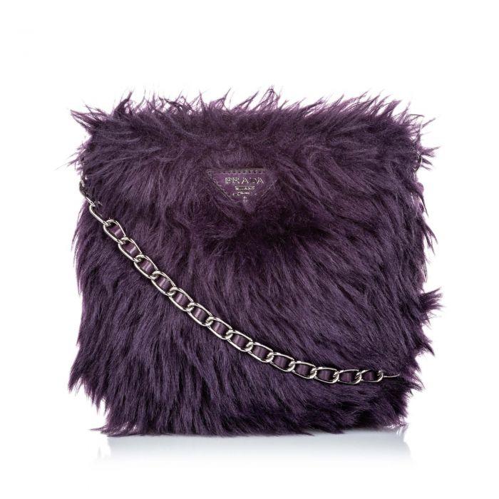 Image for Vintage Prada Fur Crossbody Bag Purple
