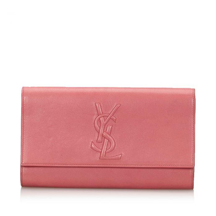 Image for Vintage YSL Leather Belle du Jour Clutch Bag Pink