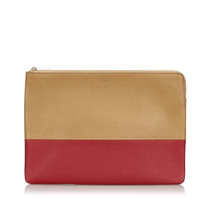 Image for Vintage Celine Bicolor Leather Clutch Bag Brown