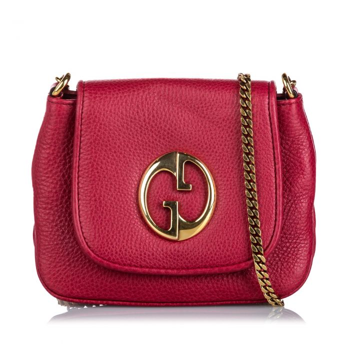 Image for Vintage Gucci Leather 1973 Crossbody Bag Pink