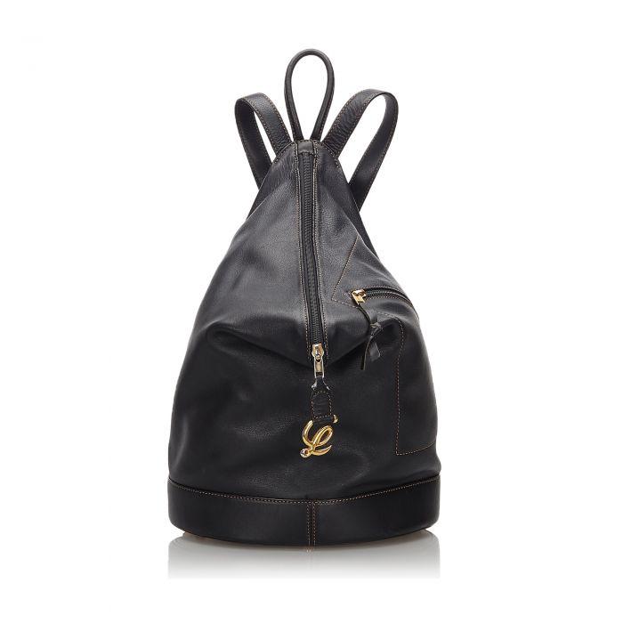 Image for Vintage Loewe Leather Anton Backpack Black